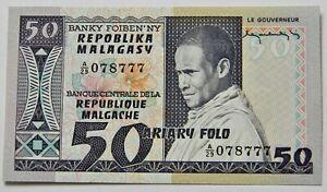 """MADAGASKAR: 50 Ariary seit 1974 """"MADAGASSE IN TRACHT"""", kassenfrisch/unc."""