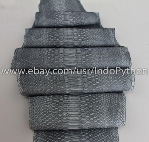 Genuine Reticulatus Python Leather Hide Snake Skin Pelt Grey Nubuk Suede Curtus