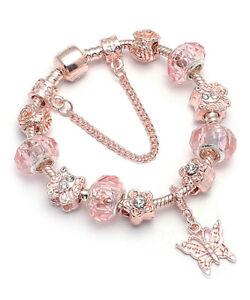 18K Rose Gold Plated Pink Crystal Butterfly Charm Bracelet Made With Swarovski