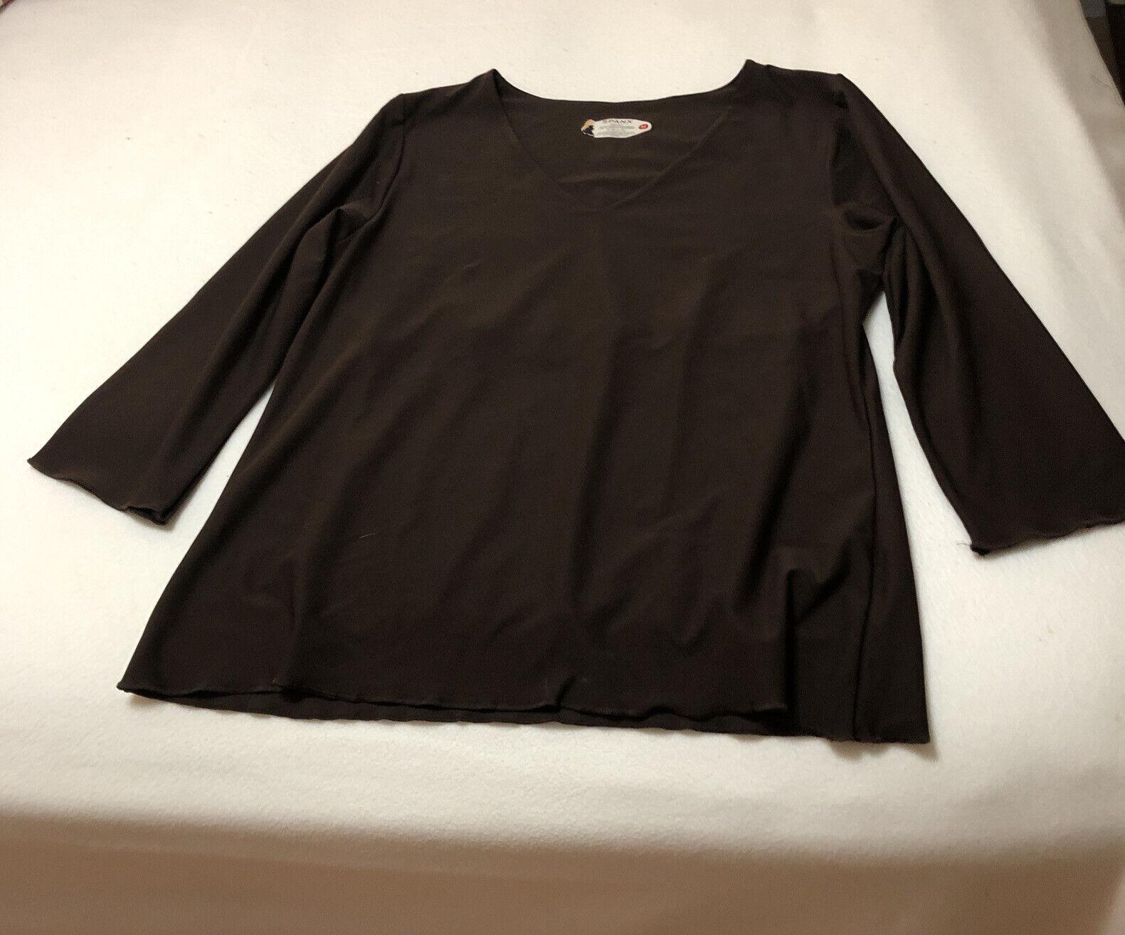 SPANX By Sara Blakey SZ M Brown 3/4 Sleeve Lined Shape Wear Top RN 112121 NEW