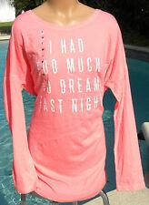 Victorias Secret long sleeve pink sleep shirt i had too much dream last night xl