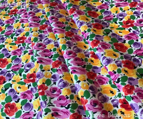 Rose /& Hubble 100/% cotton colourful flowers on white fabric half//full mtr /& FQ