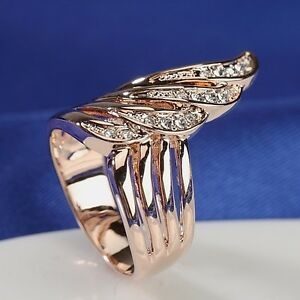 18K-Rose-Gold-Plated-High-Quality-Simulated-Diamonds-Fashion-Feather-Ring