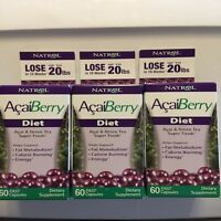 Natrol Acaiberry Diet 60 Tablet 3-pack Acai & Green Tea Superfoods Exp 7/31/17