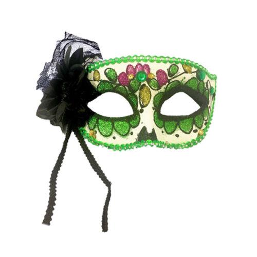 Deluxe DAY OF THE DEAD ROSE EYE MASK Senorita Halloween Fancy Dress Accessory UK