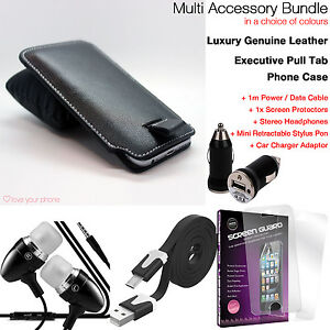 Quality-Protection-Accessory-Pack-Luxury-Leather-Pull-Tab-Phone-Case-Cover-Black