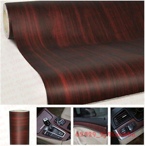 18x48inch car suv rv wood textured grain vinyl wrap sticker decal film teak red. Black Bedroom Furniture Sets. Home Design Ideas