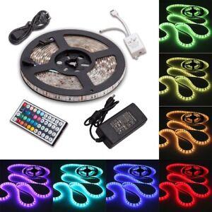 1m-30m-LED-5050-SMD-RGB-Leiste-Streifen-Band-Lichtband-Fernbedienung-Netzteil