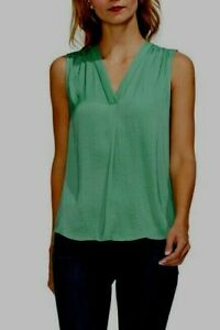 59-NWOT-VINCE-CAMUTO-WOMEN-039-S-GREEN-V-NECK-TANK-TOP-BLOUSE-SIZE-PXS