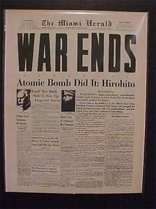 VINTAGE NEWSPAPER HEADLINE ~JAPANESE HIROHITO ATOMIC BOMB ENDS WORLD WAR WWII~