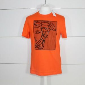 6100ff611c1 Image is loading Versace-Collection-Orange-Square-Medusa-T-Shirt