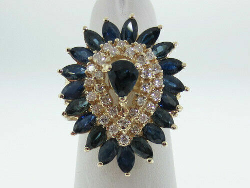 Details about  /3.5CT Pear Cut Blue Sapphire 14K Yellow Gold Finish Anniversary Wedding Ring
