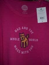 """NWT Life is Good Women's XXL """"Wag and the World Wags..."""" Bold Pink S/S T-Shirt"""