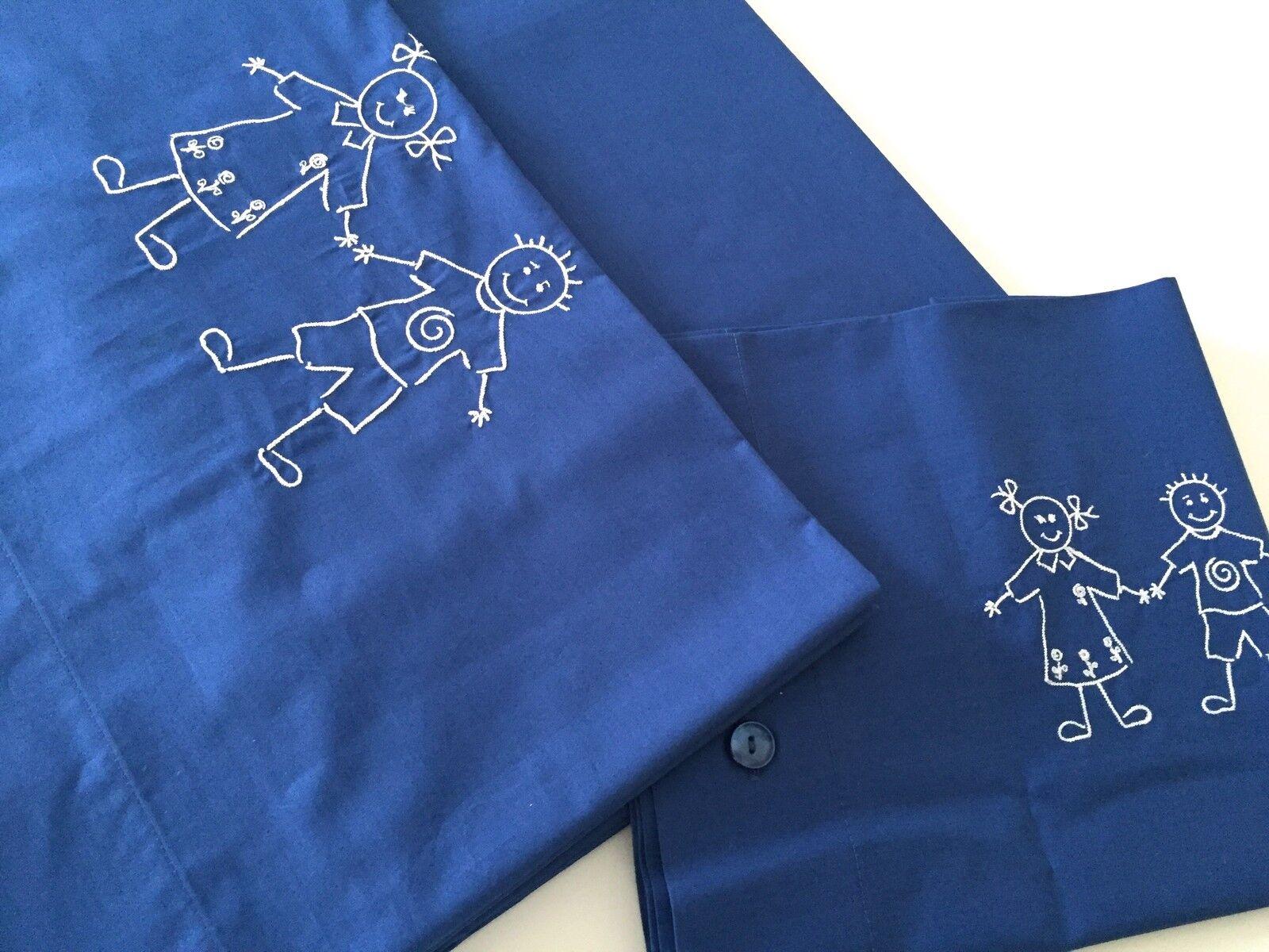 Beautiful Enfants Bed Set Linen Wiith Happy Embroidery 100%Cotton bleu 160X270cm