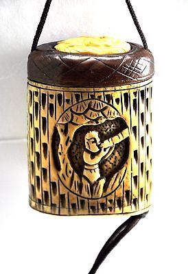 Vintage Bone Frog Bamboo Inro Netsuke Box Hanging Charm Case Storage Pouch
