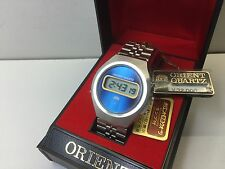 MINT NOS - Blue Orient Chronograph 1970s LCD DIGITAL WATCH with Box uhr MOT LC