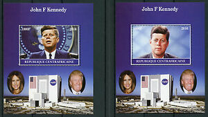 Central-African-Rep-2016-MNH-John-F-Kennedy-JFK-2x-1v-M-S-US-Presidents-Stamps