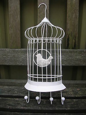 SHABBY WHITE METAL BIRD CAGE WALL HOOKS