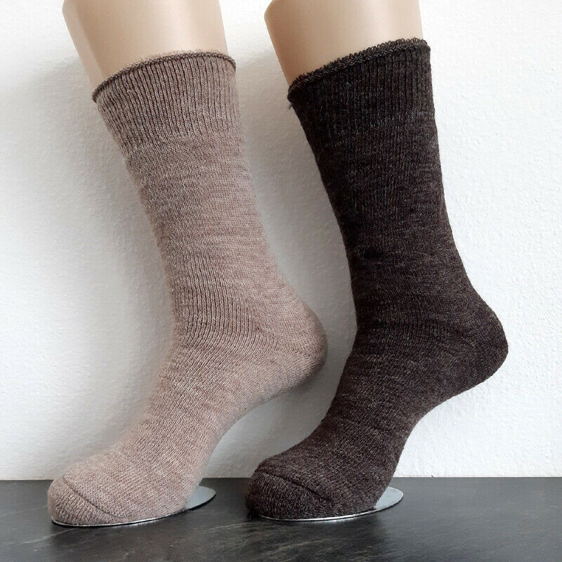 2 Paar Damen MH Alpaka Thermo Socken extra warm 100% Wolle Braun / Beige 35-42
