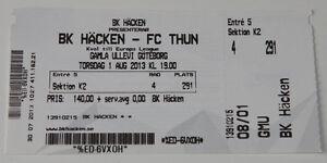 old-TICKET-EL-BK-Hacken-Sweden-FC-Thun-Switzerland-Schweiz-in-Goteborg