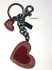 Coach Resin Rainbow Glitter Heart Keychain Purse Bag Charm F78691 NWT $98
