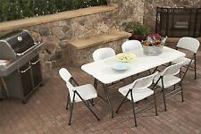 Portable Folding Table Party Outdoor Picnic Camping Furniture White Plastic 6 FT