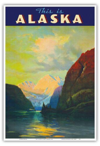 Alaska Sheltered Seas Vintage Ocean Liner Travel Art Poster Print