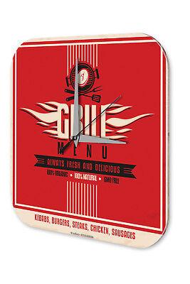 Onestà Orologio Da Parete Decorazione Cucina Grill-menu Muro Acrilico Orologio Vintage-