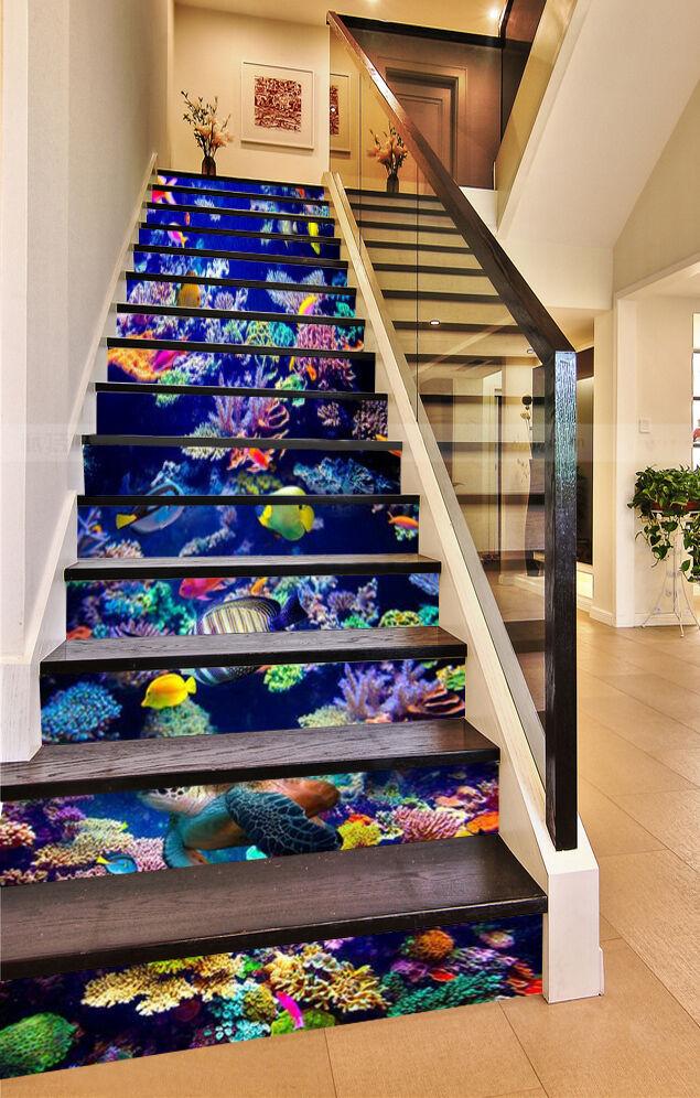 3D Ocean Fish Stair Risers Decoration Photo Mural Vinyl Decal Wallpaper UK