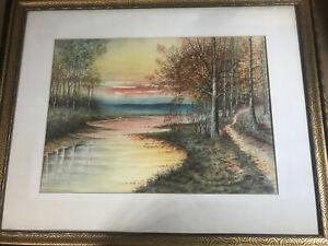 H-T-Turner-1919-034-River-Landscape-Scene-034-Watercolor-Painting-Signed-Framed