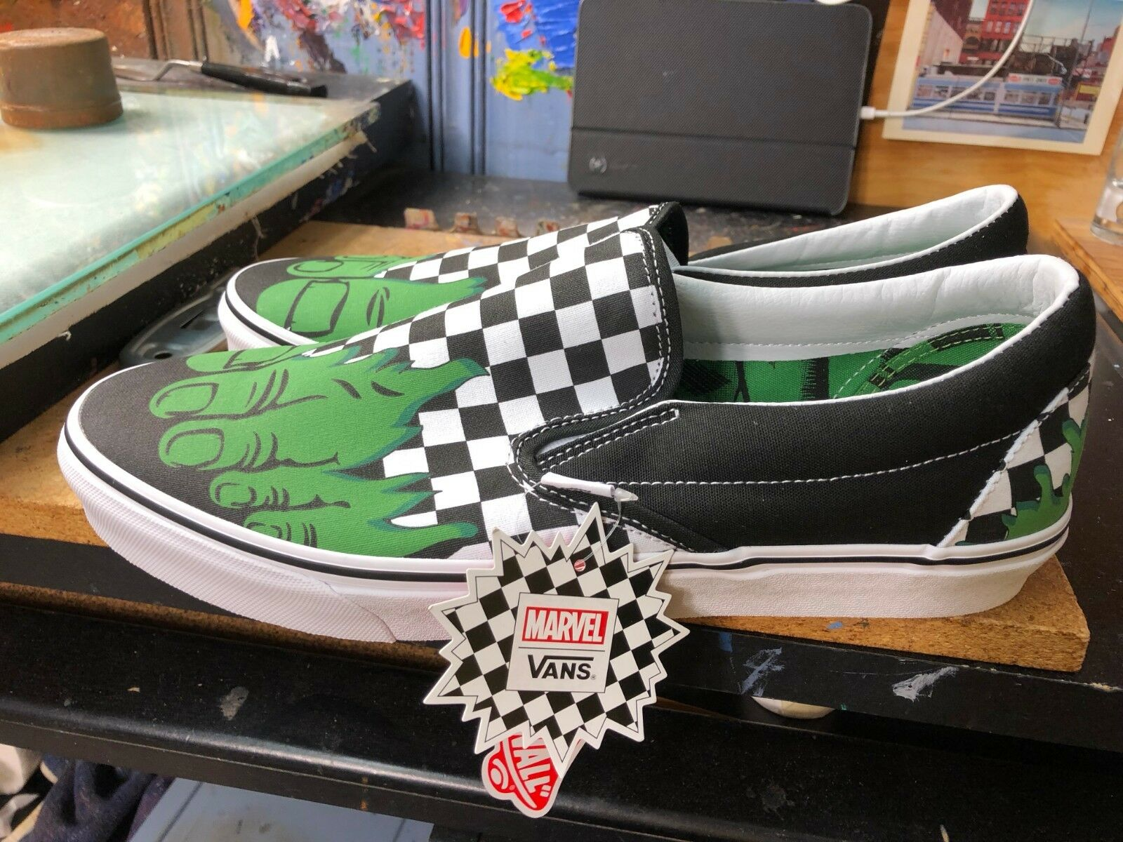 Vans Classic Slip-On (Marvel) Hulk Checkerboard  Size US 11 Men's VN0A38F7U44