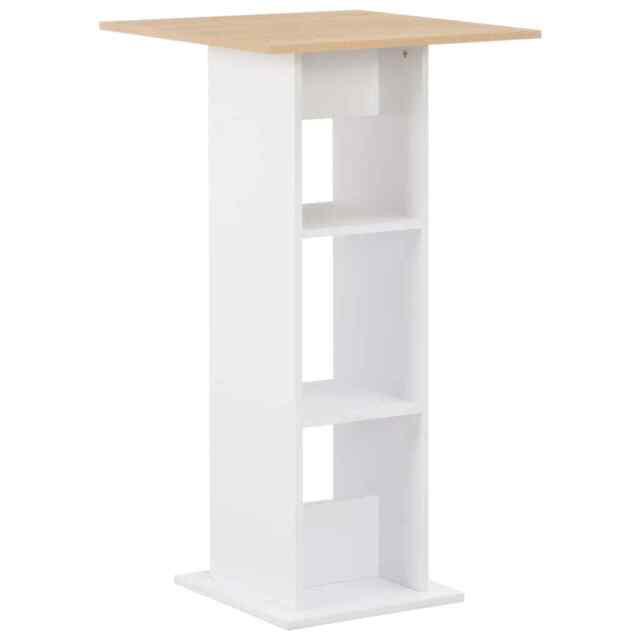Tavolo Bar Bianco.Vidaxl Tavolo Da Bar Bianco 60x60x110 Cm Truciolato 2 Ripiani Tavolino Bistro