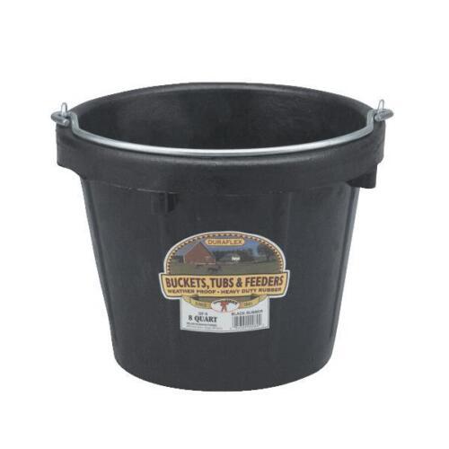 "Black 8 Qt Duraflex 12/"" D X 9 1//2/"" H Rubber Water Feed  Pail Utility Bucket DF8"
