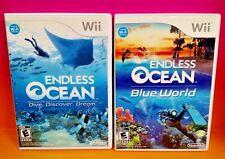Endless Ocean 1 + Blue World - Nintendo Wii / Wii U 2 Game Bundle COMPLETE Rare