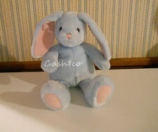 """Pottery Barn Large 18"""" blue Bunny Rabbit pink inner ears & paw pads plush soft"""