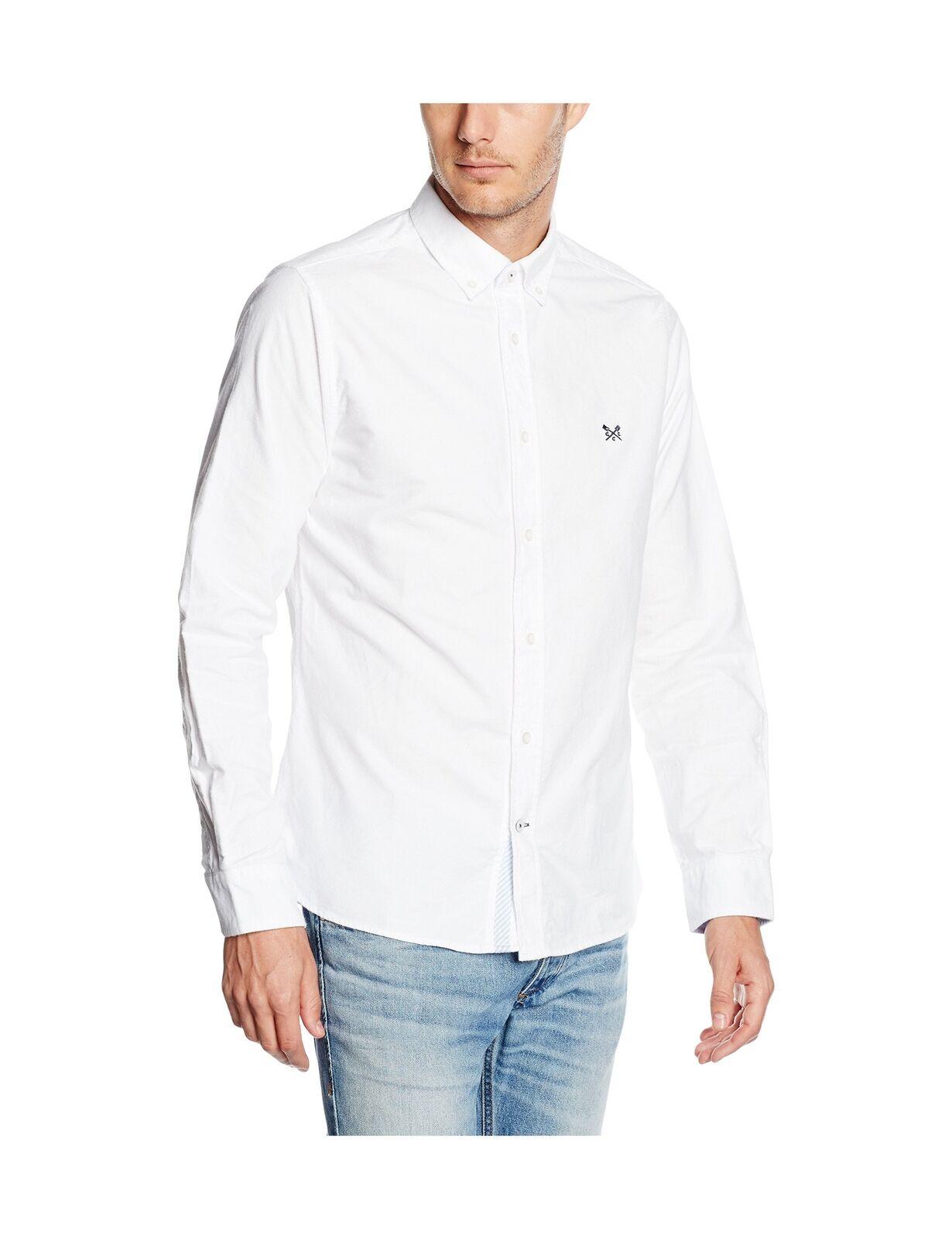Crew Clothing Uomo Dunham Oxford Manica Lunga Slim Fit Fit Fit Camicia Casual Bianco Grande e5c0d8