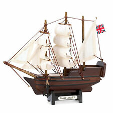 NEW Mini Mayflower Model Ship Fully Assembled Wood Cotton Sails 14750