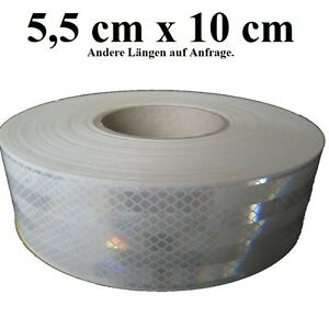 12-00-m-10cm-Geocaching-selbstklebende-3M-Reflektorfolie-weiss-Diamond-Grade