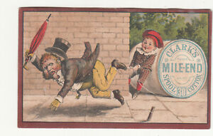 Clark's Mile End Spool Cotton Thread Trip Man w Umbrella Top Hat Vic Card c1880s