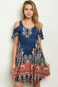 New-USA-Boho-Paisley-Floral-Boutique-Cold-Shoulder-Pockets-Western-Dress-S-M-L