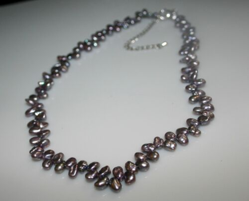 """Fresh Water Grey broque pearls Pearl Necklace 4x6mm 16/"""" w// Extender 52715"""