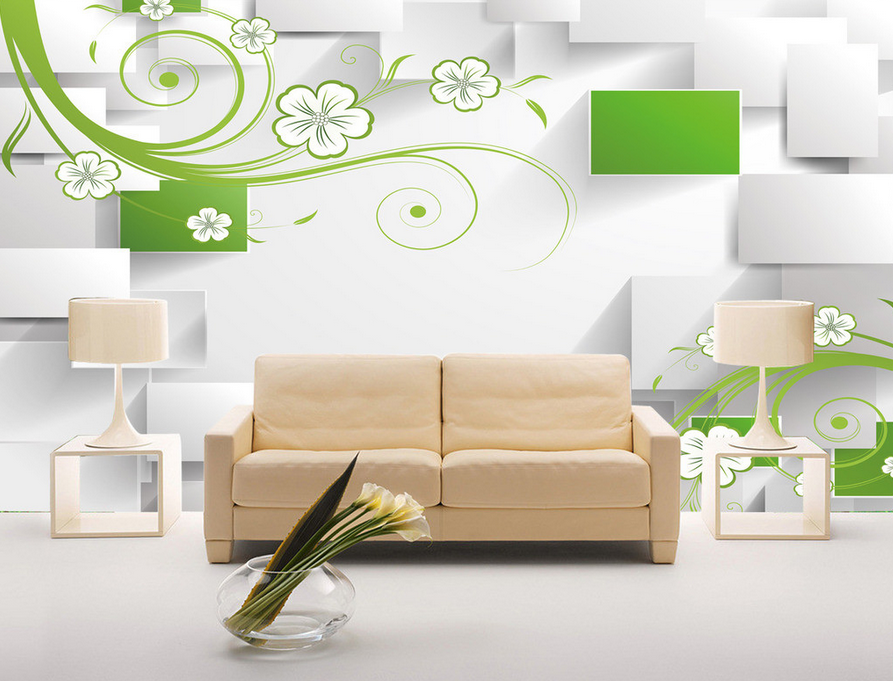 3D Vines Petal 4068 Wallpaper Murals Wall Print Wallpaper Mural AJ WALL UK Lemon