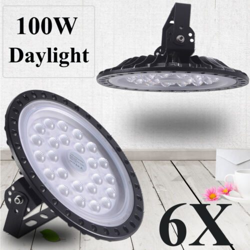 6X 100W UFO LED High Bay Light Daylight Factory Warehouse Industrial GYM Fxtures