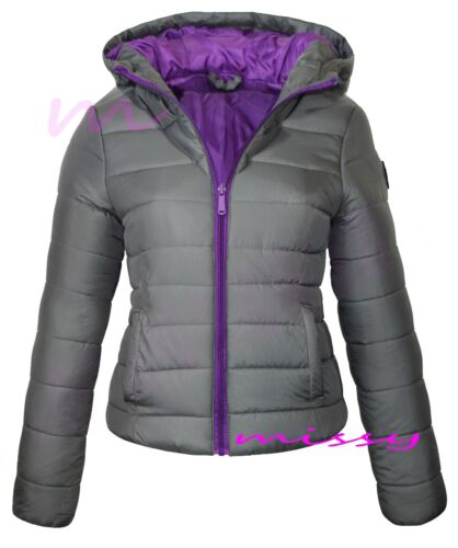 New Ladies Quilted Padded Puffer Bubble Collar Warm Thick Womens Jacket Coat ZIP