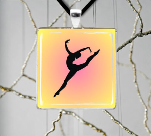 GYMNASTIC SPORT GIRL IN ACTION PENDANT NECKLACE drF5Z