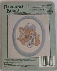 Janlynn-Precious-Bears-Boy-s-Teddy-Counted-Cross-Stitch-Kit-139-13-With-Frame