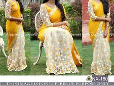 Beautiful  Designer Party Wear Yellow  & Cream  Color Half & Half Saree
