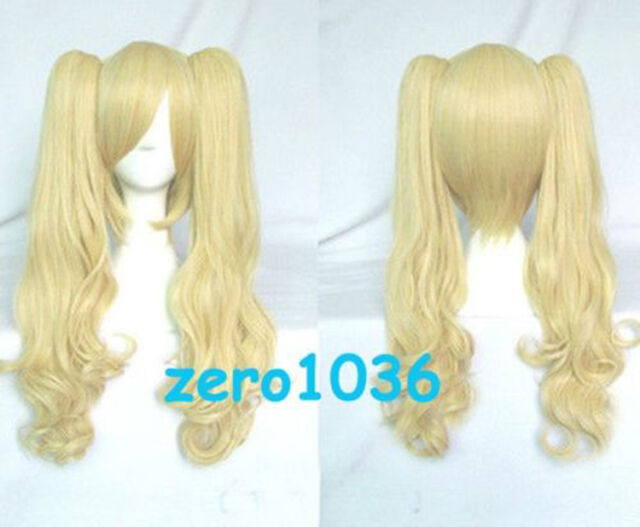 Gothic Lolita Cosplay Wig Party Light Gold Blond Ponytails On Clip Free Shipping