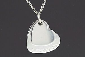 9b5d11174bcbe Tiffany & Co. Sterling Silver Two Double Heart Pendant Necklace 17.5 ...