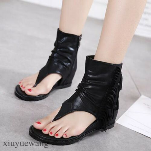2019 Stylish Hot Womens Ladies Thong Leather Roman Shoes Gladiator Sandals Size